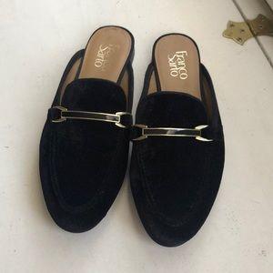 Franco Sarto Velvet Loafer Mules
